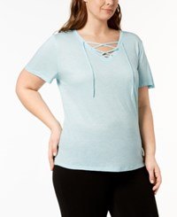 Ideology Plus Size Lace Up T Shirt Created For Macy's Breezy Sea