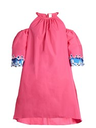Peter Pilotto Embroidered Cut Out Shoulder Cotton Dress Pink