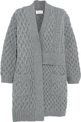 Maison Martin Margiela Asymmetric Cable Knit Wool Cardigan Gray