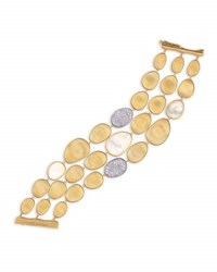 Marco Bicego Lunaria Three Row Mother Of Pearl Bracelet With Diamonds