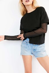 Silence And Noise Over Under Mesh Mix Tee Black