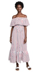 Mds Stripes Rebecca Ruffle Dress Navy Coral Stripe