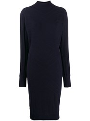 Barrie Knitted Midi Dress Blue