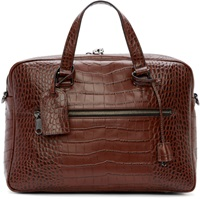 Marc By Marc Jacobs Brown Croc Embossed Johnny Briefcase