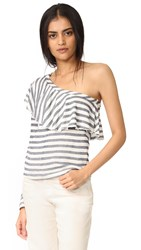 Splendid One Shoulder Top With Ruffle Natural