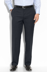 Canali Flat Front Wool Trousers Navy