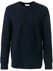 Closed Ribbed Knit Jumper Wool S Blue