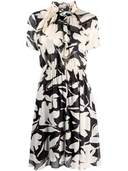 Calvin Klein Ruffled Collar Floral Print Dress 60