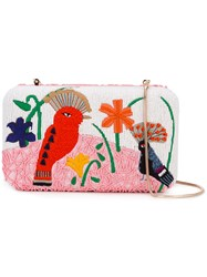 Alice Olivia Bird Embroidered Clutch Women Cotton Pvc One Size Pink Purple
