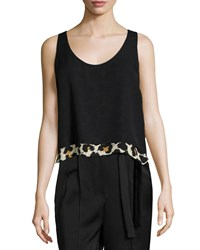 Edun Sleeveless Scoop Neck Blouse Leopard Splatter