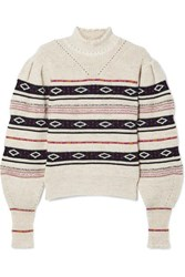 Isabel Marant Conelly Pointelle Trimmed Intarsia Knitted Turtleneck Sweater White