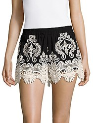 Romeo And Juliet Couture Banded Waist Lace Shorts Black White