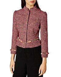 Karen Millen Tweed Fringe Jacket Pink Multi