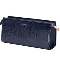 Aspinal Of London Small Lizard Embossed Leather Cosmetic Case Blue