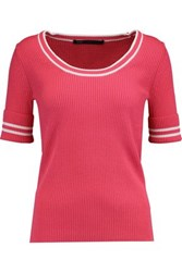 Marc By Marc Jacobs Ribbed Wool Blend Sweater Fuchsia