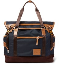 Master Piece Potential Leather And Suede Trimmed Canvas Tote Bag Navy
