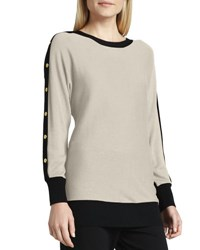 Joan Vass Colorblock Button Sleeve Sweater Ivory Black