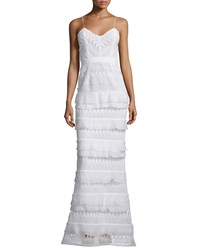 Self Portrait Penelope Sleeveless Tiered Lace Gown White Size 0