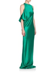 Ann Demeulemeester Rasoseta Silk Draped Shoulder Gown Green