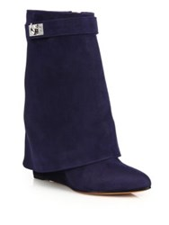 Givenchy Sharklock Suede Wedge Booties Navy Grey