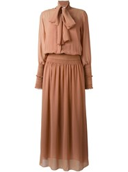 See By Chloe Pussy Bow Maxi Dress Brown