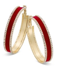 Thalia Sodi Gold Tone Metal Mesh And Crystal Hoop Earrings Only At Macy's Red Velvet