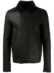 Lot 78 Lot78 Shearling Lined Leather Jacket Black