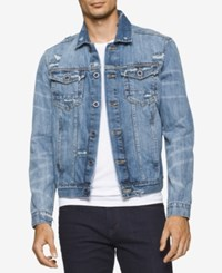 Calvin Klein Jeans Men's Destructed Sky Denim Trucker Jacket