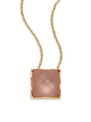 Alexis Bittar Lucite Pyramid Pendant Necklace Rose Grey