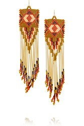 Finds Bead And Porcupine Earrings Yellow