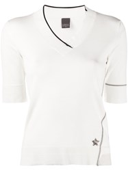 Lorena Antoniazzi Star Plaque Contrast Trim Knitted Top 60