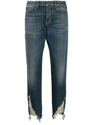 Saint Laurent Distressed Hem Boyfriend Jeans Blue