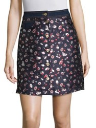 Tommy Hilfiger Collection Jacquard Floral Printed Skirt Navy Blazer