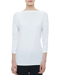 Vince Boat Neck Long Sleeve Tee White