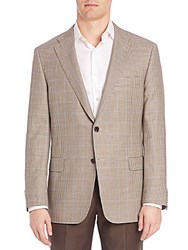 Hickey Freeman Houndstooth Sportscoat Brown