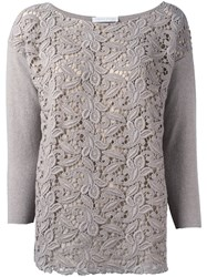 Fabiana Filippi Lace Front Jumper Nude And Neutrals