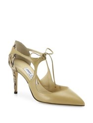 Jimmy Choo Vanessa Cutout Leather And Snakeskin Front Tie Pumps Nude