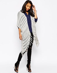 Ax Paris Longline Fringed Cardigan Grey
