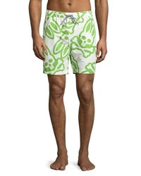 Psycho Bunny Logo Print Swim Trunks Green