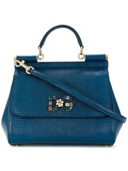 Dolce And Gabbana Jewelled Sicily Bag Blue