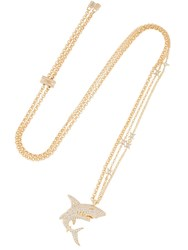 Apm Monaco Shark Necklace With Stars Gold