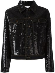 Ashish Sequin Embellished Denim Jacket Black