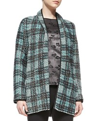 Shamask Long Leather Trim Tweed Cardigan Teal