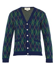 Gucci Argyle Intarsia Wool And Cashmere Blend Cardigan Blue