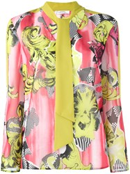 Versace Collection Floral Print Blouse Green