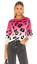 Autumn Cashmere Dip Dyed Leopard Crew Sweater In Pink Cream. Pink And Black Combo