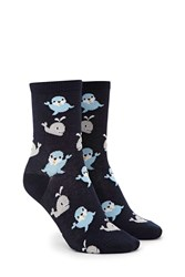 Forever 21 Whale And Seal Crew Socks Navy Multi