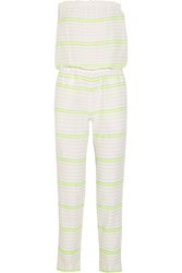 Lemlem Abara Striped Cotton Blend Gauze Jumpsuit White