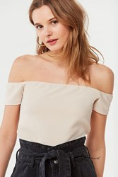 Urban Outfitters Uo Off The Shoulder Ribbed Cropped Top Beige