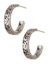 Lois Hill Sterling Silver Signature Cutout Hoop Earrings Metallic